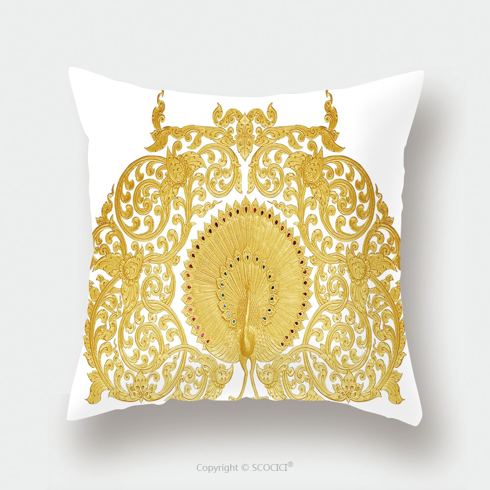 Custom Satin Pillowcase Protector Ornament Of Gold Plated Vintage Floral Thai Art Style 310522988 Pillow Case Covers Decorative