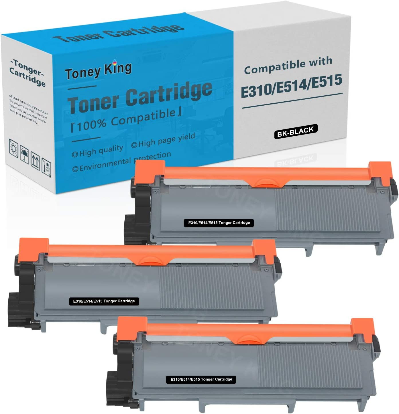 Compatible E310 E514 E515 Toner Cartridge Replacement for Dell E514dw E310dw E515dw E515dn Printer Toner Cartridges ( Dell PVTHG, 593-BBKD, P7RMX, 2,600 Page High Yields, 3PK x Black ) by Toney King