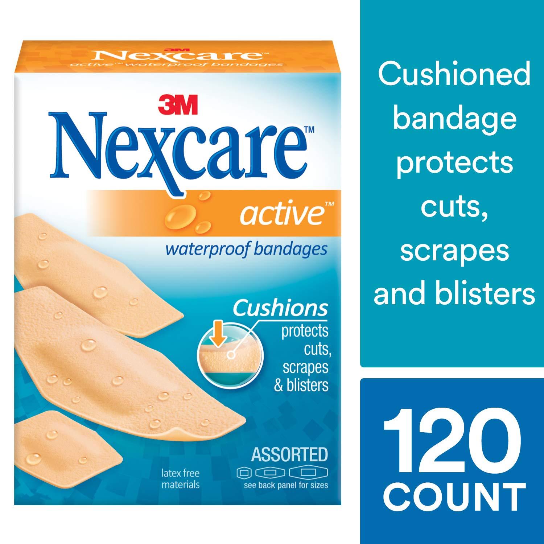 Nexcare Active Extra Cushion Bandages, Assorted