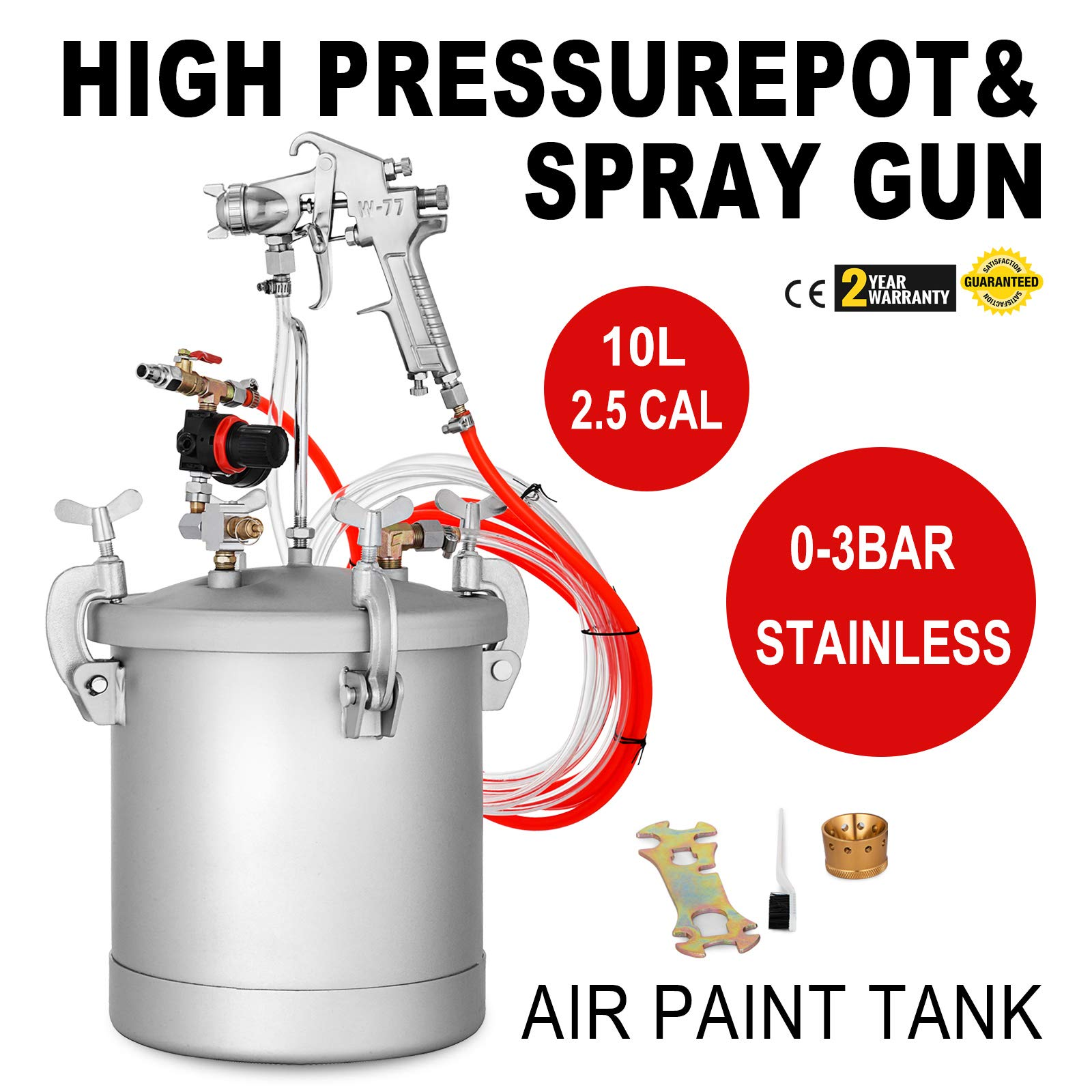 VEVOR Pressure Pot Tank 10L / 2.5 Gallon Paint Pressure Pot Stainless Paint Tank with 2.5mm Nozzle Spray Guns and Paint Hose (10L 2.5mm)