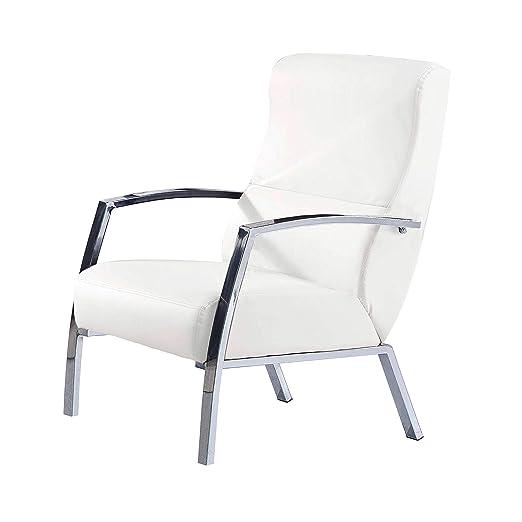 Adec - Butaca de espera, sillon salon, modelo Tango, acabado en símil piel color Blanco Nieve, medidas: 60 cm (ancho) x 95 cm (alto) x 63 cm (fondo)