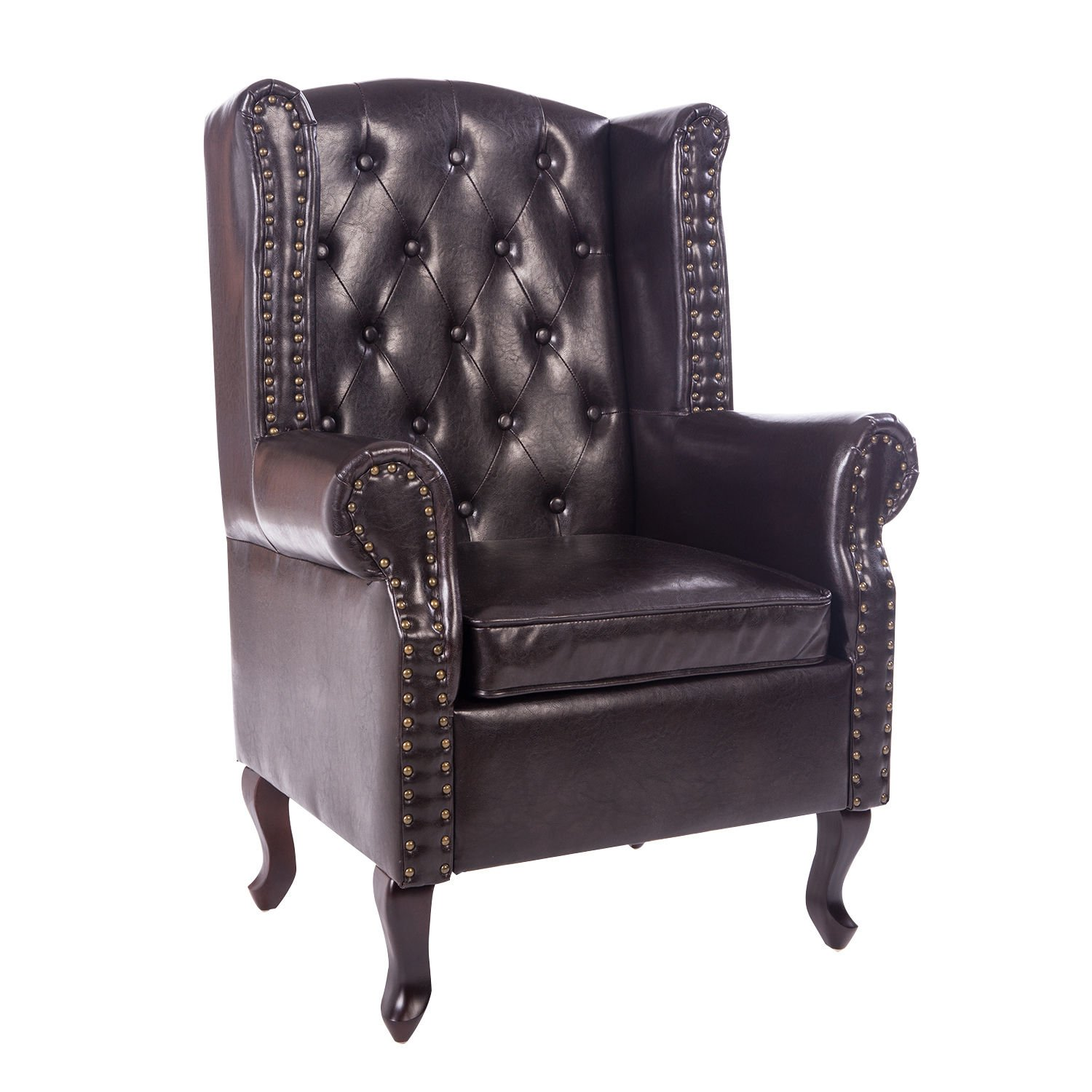 HOMCOM Antique High Back Chair PU Leather Seat Chesterfield Type Armchair Queen Anne Fireside Chair w/Cushion (Brown Sold by MHSTAR