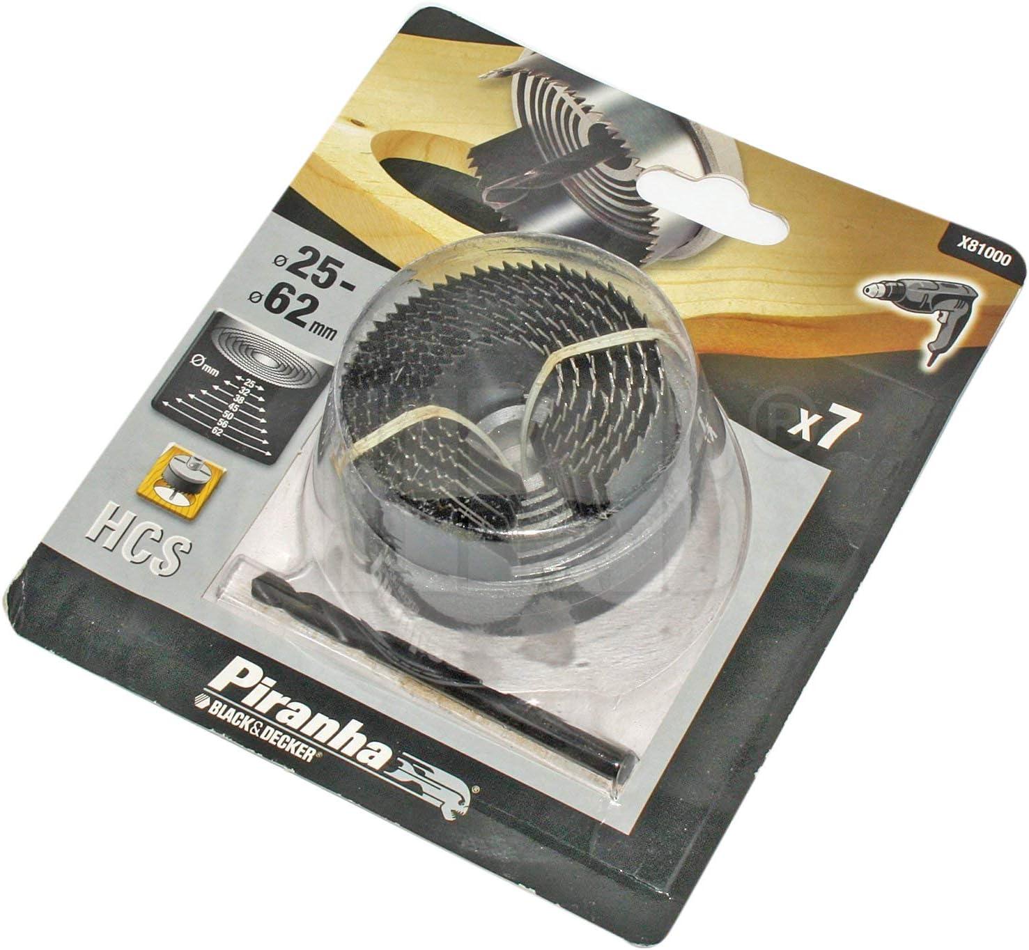 38//45 Black+Decker X81000-XJ Profundidad 18 mm. 7 brocas de campana de acero al carbono para madera /ø 25//32 50//56 62 mm