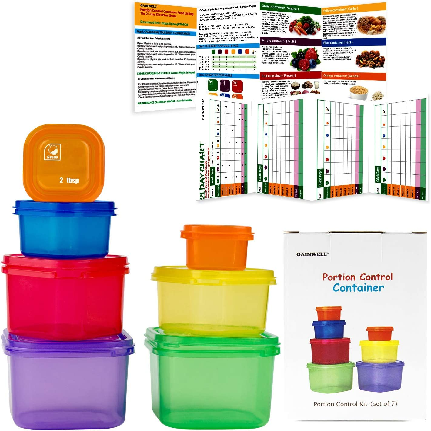 GAINWELL Day Meal Portion Containers