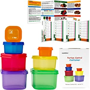 7 piece portion control container set for weight loss portion control kit for diet meal