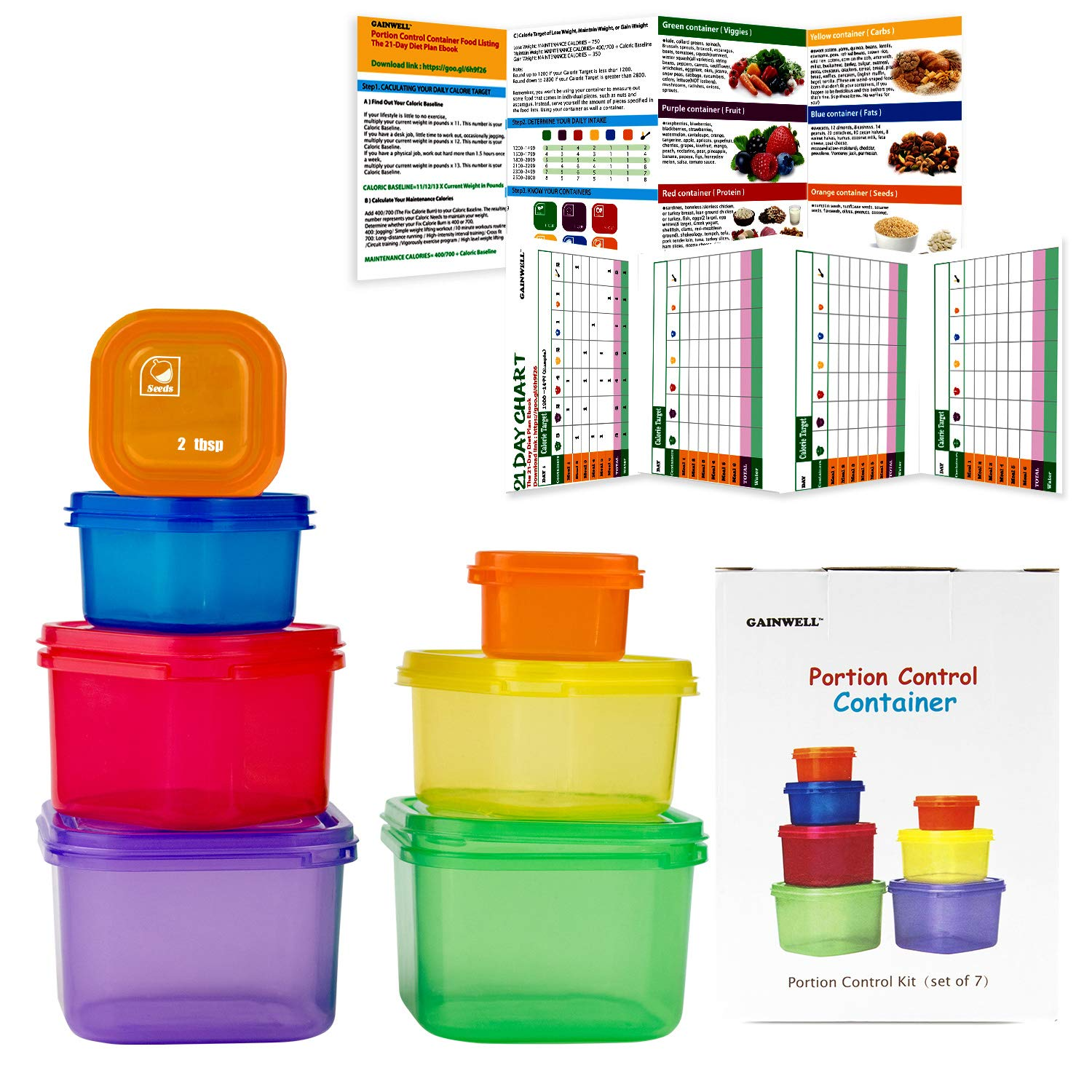 7 Piece Portion Control Container Set for Weight Loss - Portion Control Kit for Diet Meal Preparation - Comparable to 21 Day - GAINWELL
