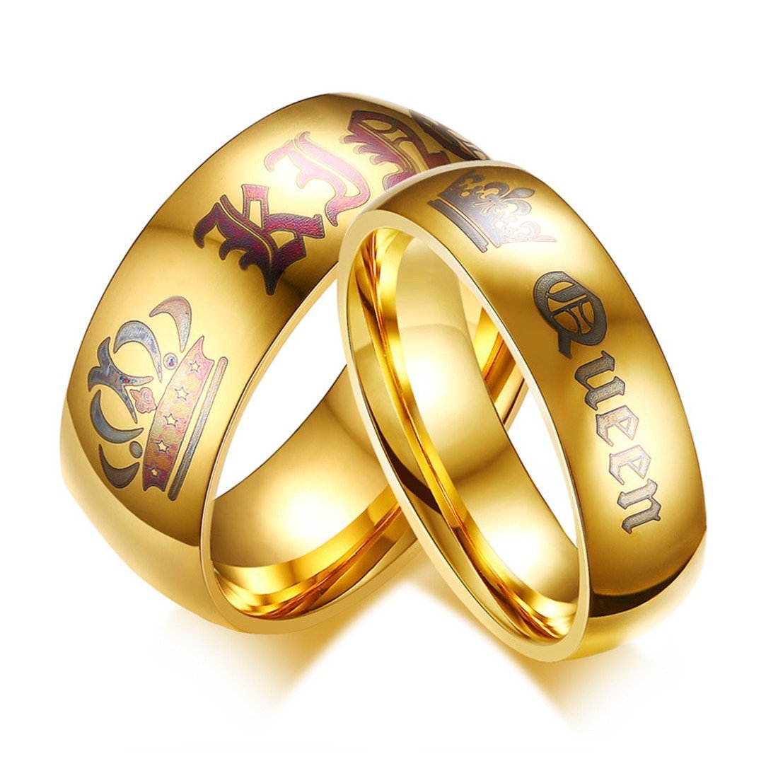Keybella Her King/His Queen Ring Gold Stainless Steel Wedding Bands Engagement Promise Rings KeybellaRing0003