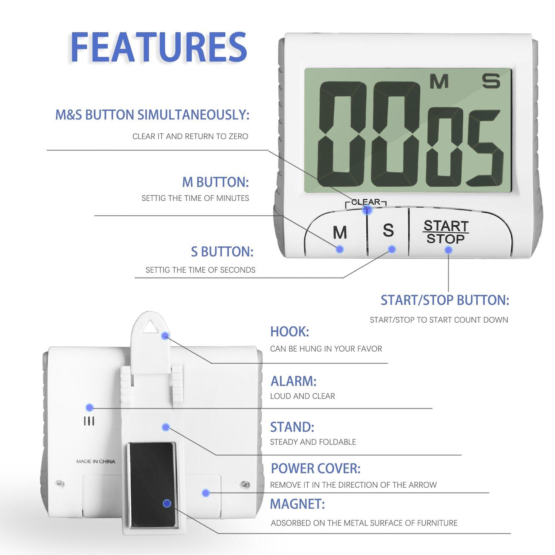 Hovinso Timer da cucina digitale Timer elettronico con cronometro e ampio display LCD e sveglia potente orologio magnetico conto alla rovescia con supporto e gancio retrattili