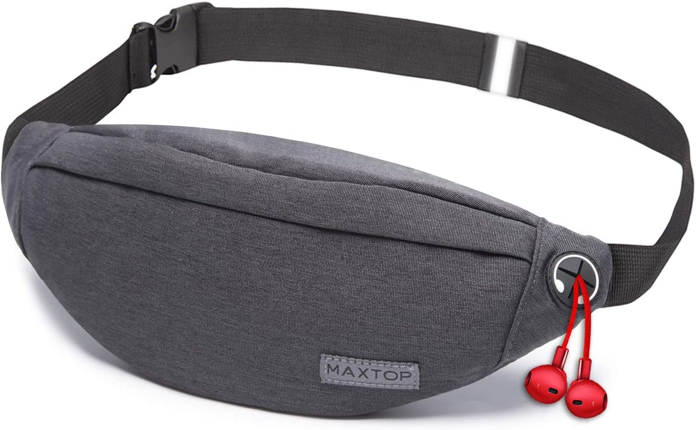 BLACK MAXTOP Fanny Pack for Men Women Waist Pack Bag with Headphone Jack and 3-Zipper Pockets Adjustable Straps