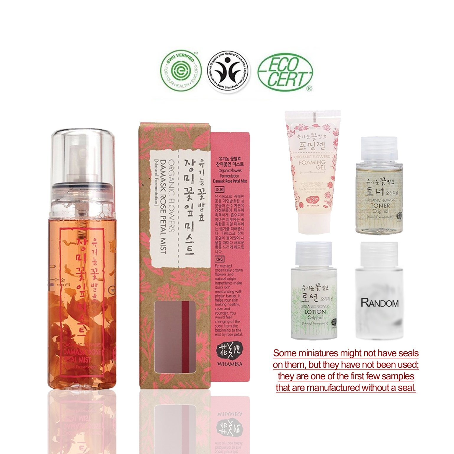 Whamisa [ Skin Care Kit ] Organic Flowers Damask Rose Petal Mist 80ml / Original Toner and Lotion 20ml each / Foaming Gel 20ml / Random 1 Miniature - Naturally fermented, EWG Verified | BDIH Certifed