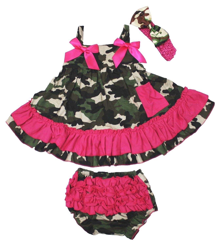 Amazon Petitebella Hot Pink Camouflage Swing Top Bloomer Set