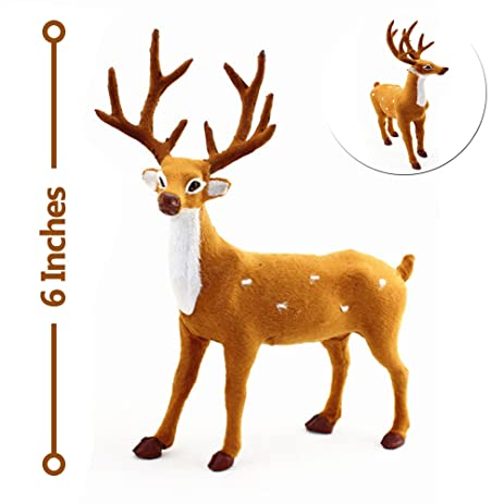1ct plush standing christmas deer decor 6 inches rustic christmas deer figurine - Christmas Deer Decor