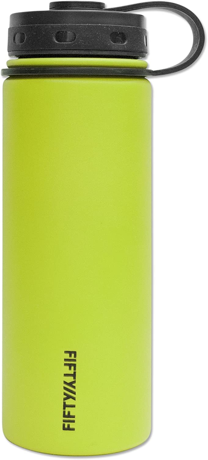 Fifty/Fifty Lime Vacuum-Insulated Stainless Steel Bottle with Wide Mouth - 18 oz. Capacity