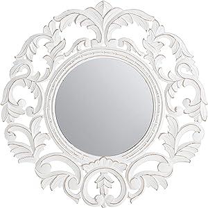 Fetco Foley Decorative Mirror, Distressed White