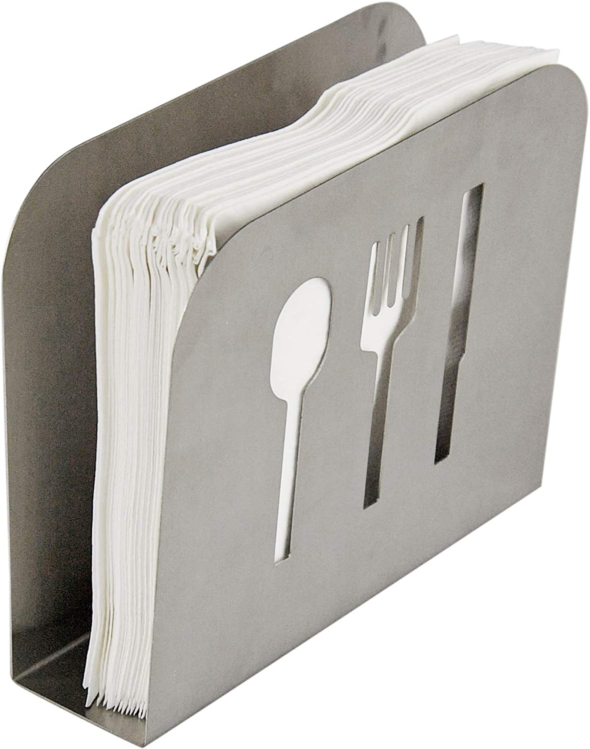 HOME-X Stainless-Steel Napkin Holder, Spoon, Fork, and Knife Cutout Shapes-6