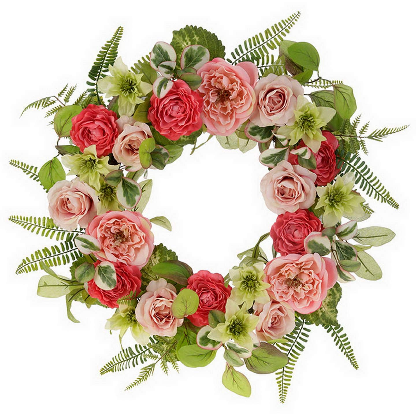 """RAZ Imports Spring Pink//Green 24/"""" Mixed Floral Wreath"""