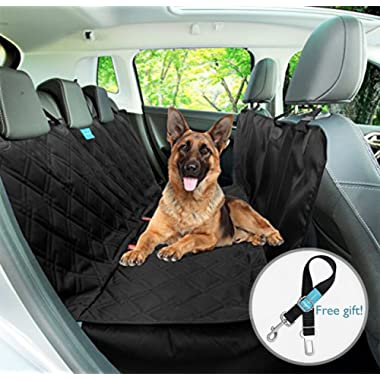 Dog Backseat Hammock Seat Cover Style 2 in 1, Durable, Wateproof, Non slip rubber backing with anchors Washable for trucks cars suv's