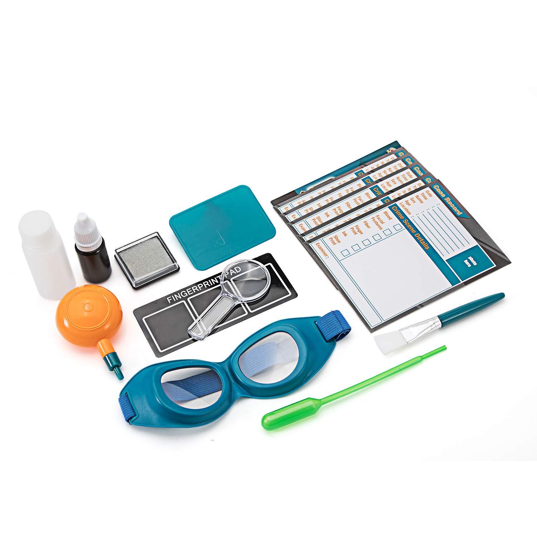 mit Miniatur-Lupe Fingerabdruckpulver Karten mit Verd/ächtigem Profil und vieles mehr Stempelkissen SWIFT Kinder Detektiv-Fingerabdruck-Kit