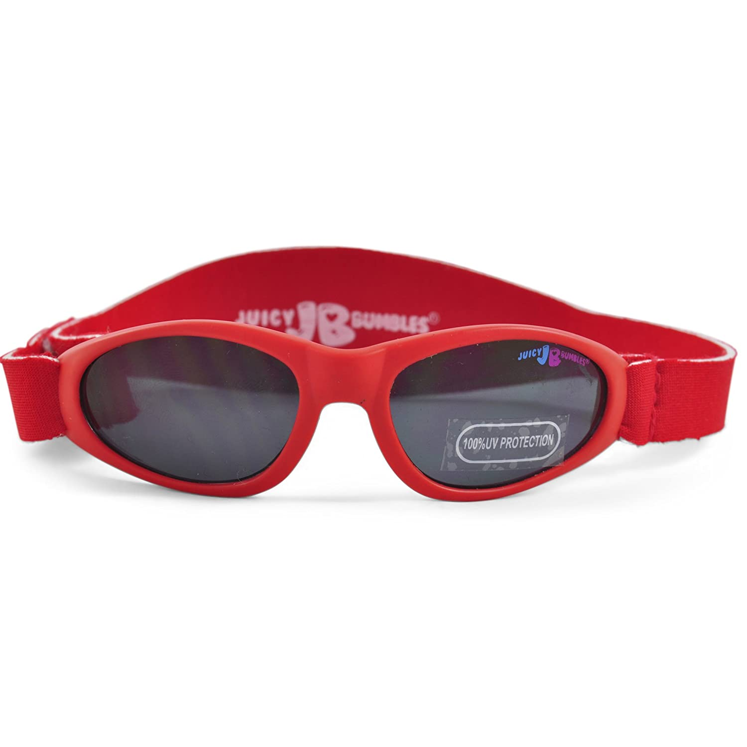 Baby Sunglasses with AdjustableStrap – Toddler Sunglasses with Carrying Case - for Baby Girls - 100% UV Protection – 3 to 18 Months Juicy Bumbles SUNG-Red