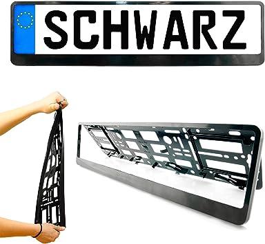 Kennzeichenhalter In Schwarz Satz 2 Stück Kennzeichen Nummernschild Halter Euroclip Für Eu Kfz Kennzeichen Einfache Montage Made In The Eu Auto
