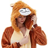 ABENCA Lion Onesie Adult Animal Costume Women Pajamas Onepiece Cosplay Cartoon Halloween Christmas