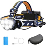 Rechargeable Headlamp TAZLER 12000 Lumens 6 LED 8 Modes USB Rechargeable HeadLight with 2 Batteries, Waterproof LED Head…