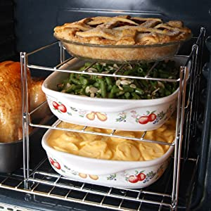 "3-Tier Oven Rack -- 14.5"" x 11"" x 10.5"" -- From Flat To Oven Ready in 4 Easy Steps"