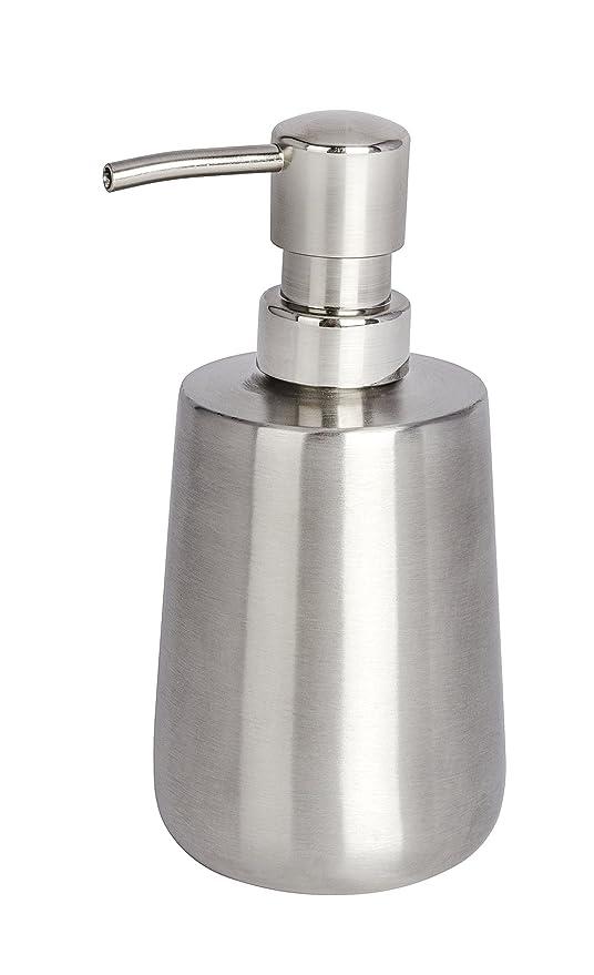 Wenko Solid Dosificador Jabón, Acero Inoxidable, Plata, 9x8x16 cm