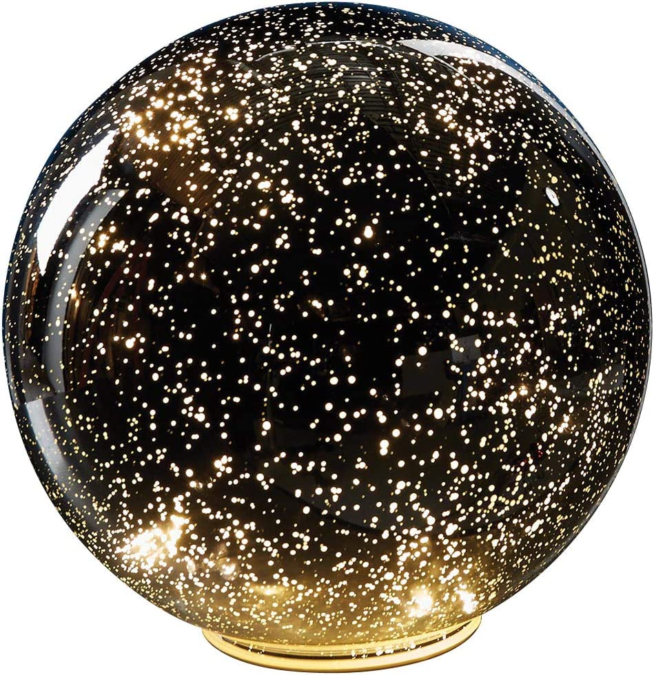 SIGNALS Lighted Mercury Glass Ball Sphere Holiday Home Decor - Nightlight Accent Light - Silver - Large