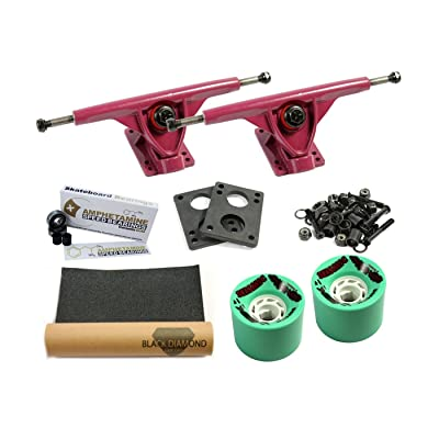 'LONGBOARD Axes Set Pro | Amok Trucks 7 180 mm | Amphetamine Roulements à billes Ceramics or | Wheels | avec Hardware & Grip Tape
