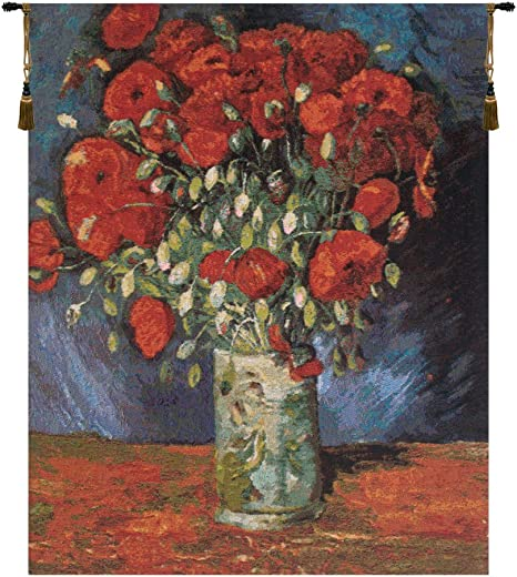Charlotte Home Furnishings Inc Poppy Flowers By Van Gogh Decorative Belgium Tapestry Wall Hanging Wool Cotton Acrylic And Polyester Blend Wall Art 24 In X 30 In Home