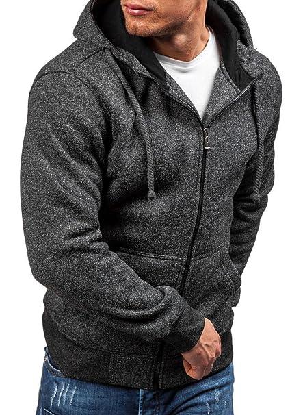 Sudadera Hombre barata,Hombre Cremallera Camiseta con Capucha de Manga Larga Otoño Invierno Ropa (