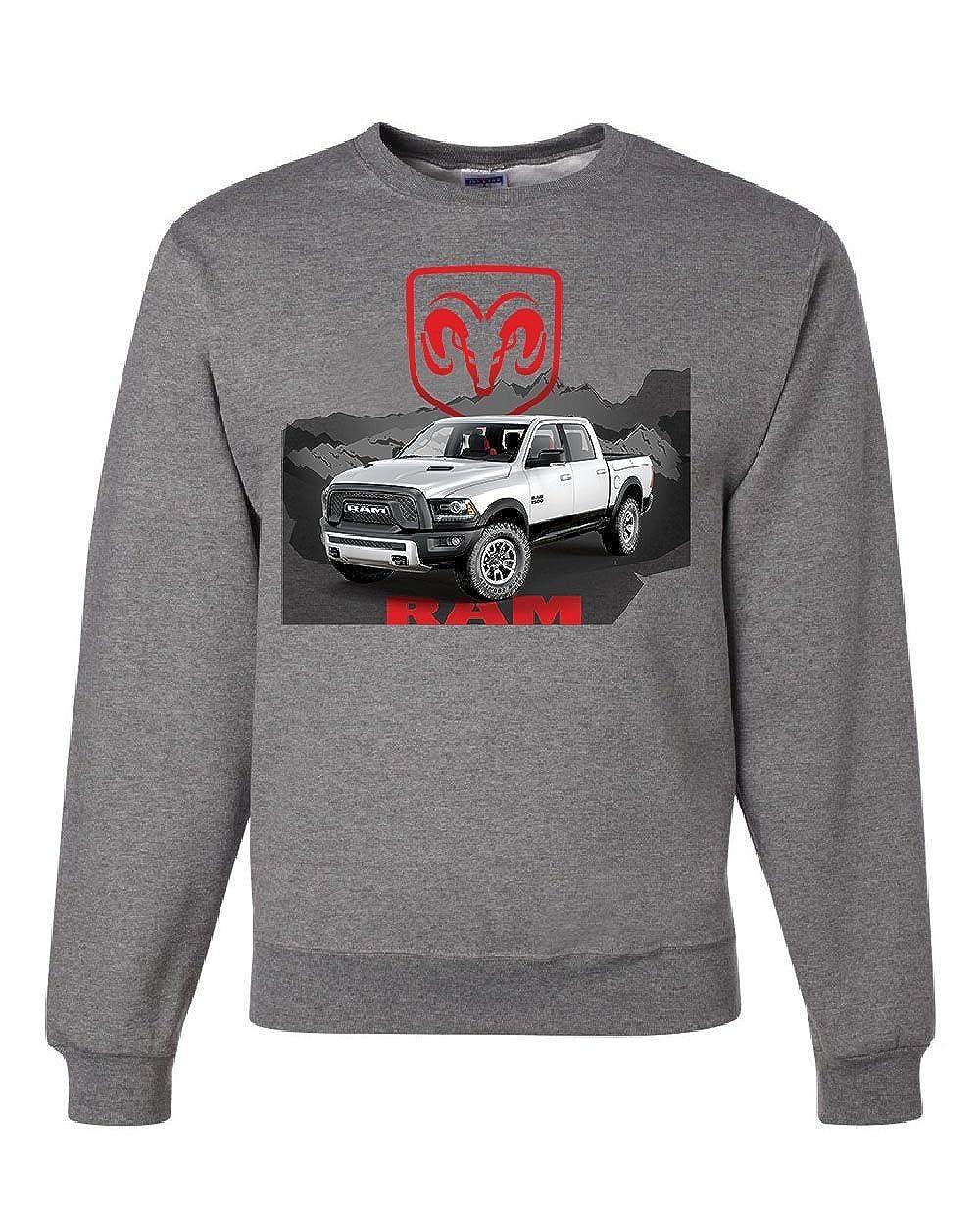 Tee Hunt Dodge RAM White Truck Sweatshirt Heavy Duty Pickup Truck Sweater