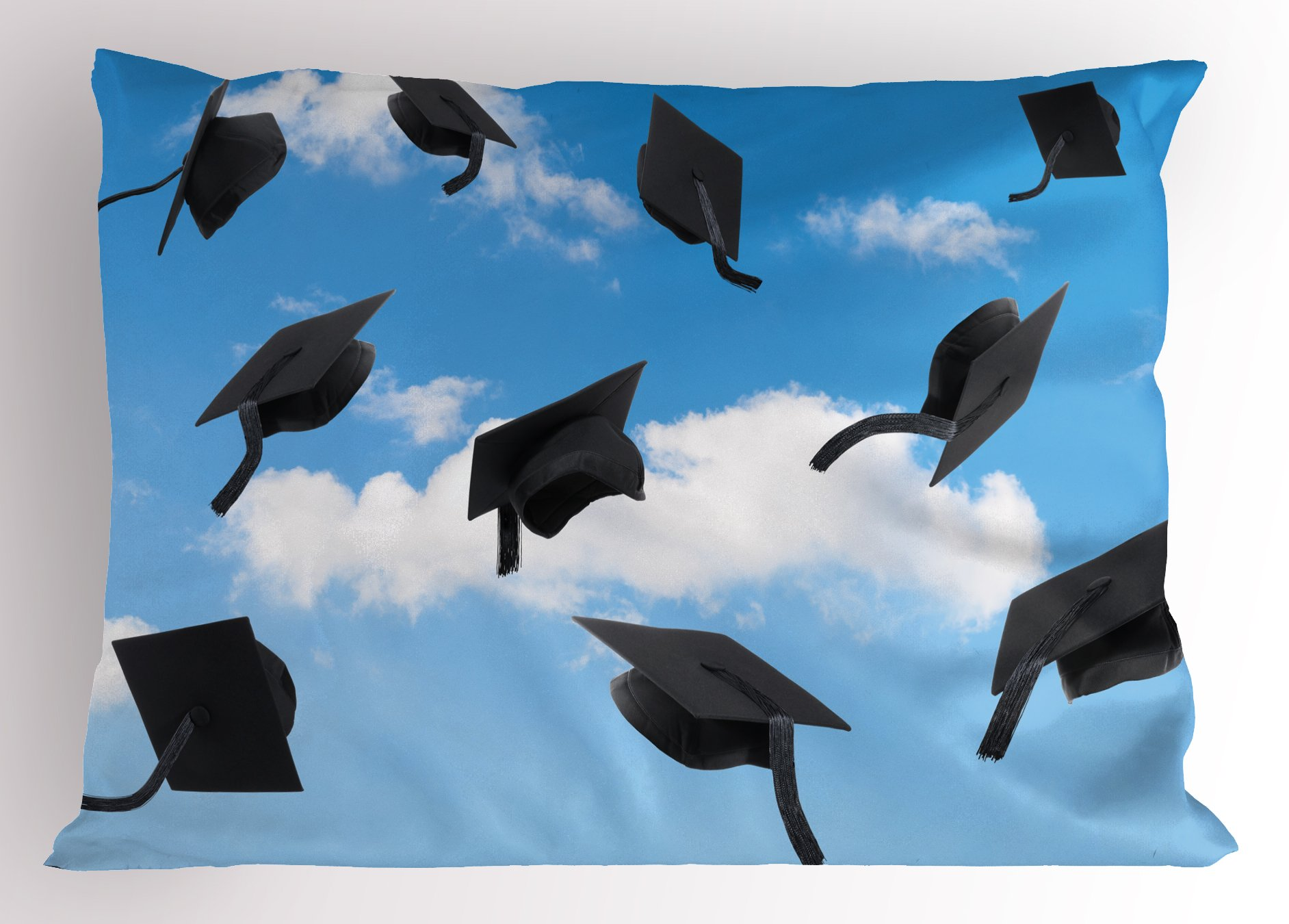 Lunarable Graduation Pillow Sham, Caps Thrown into Sky Last of The School Highschool College Ceremony Picture, Decorative Standard Queen Size Printed Pillowcase, 30 X 20 inches, Blue Black