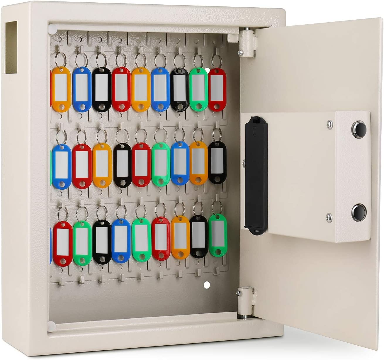 Security Storage Locker System for Homes Hotels Flexzion Key Cabinet with Electronic Digital Lock Wall Mounted Key Box 40 Key Capacity Colored Tags /& Hooks Businesses Gray Schools Safe Organizer