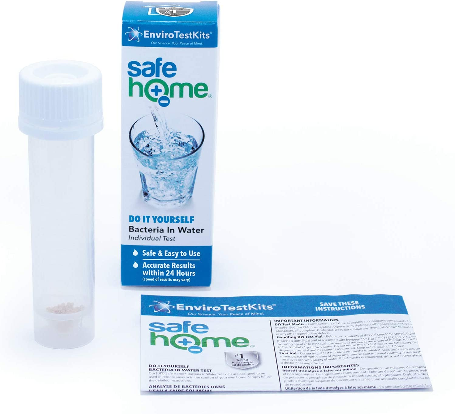 Safe Home BACTERIA in Water Test Kit – Single Pack – DIY Testing for Total Coliform Bacteria – Includes E. coli