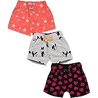 Aatu Kutty Girl's Cotton Casual Shorts - Pack of 3
