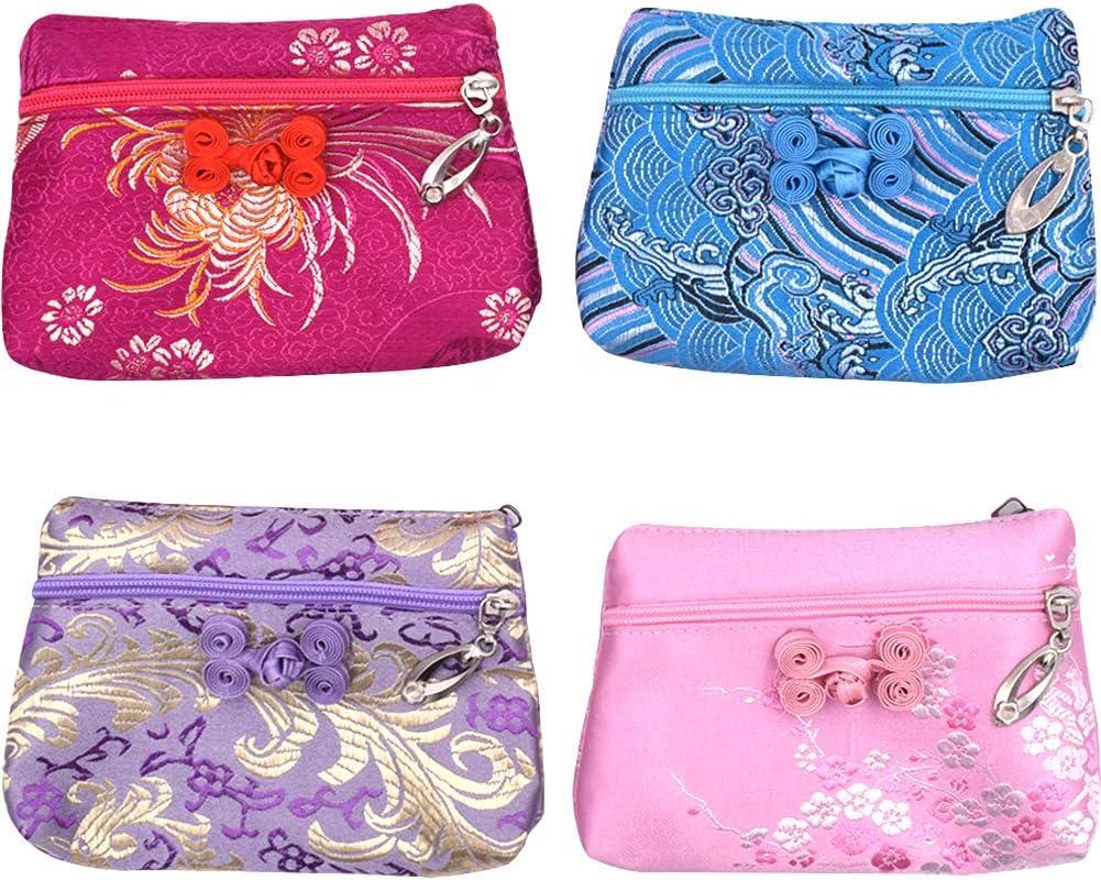 Brocart Yunjin Porte-Monnaie Pratique Double Fermeture /Éclair Chinois Cadeau Portefeuille en Soie NALCY 4 Pcs Porte-Monnaie Bijoux Pochettes