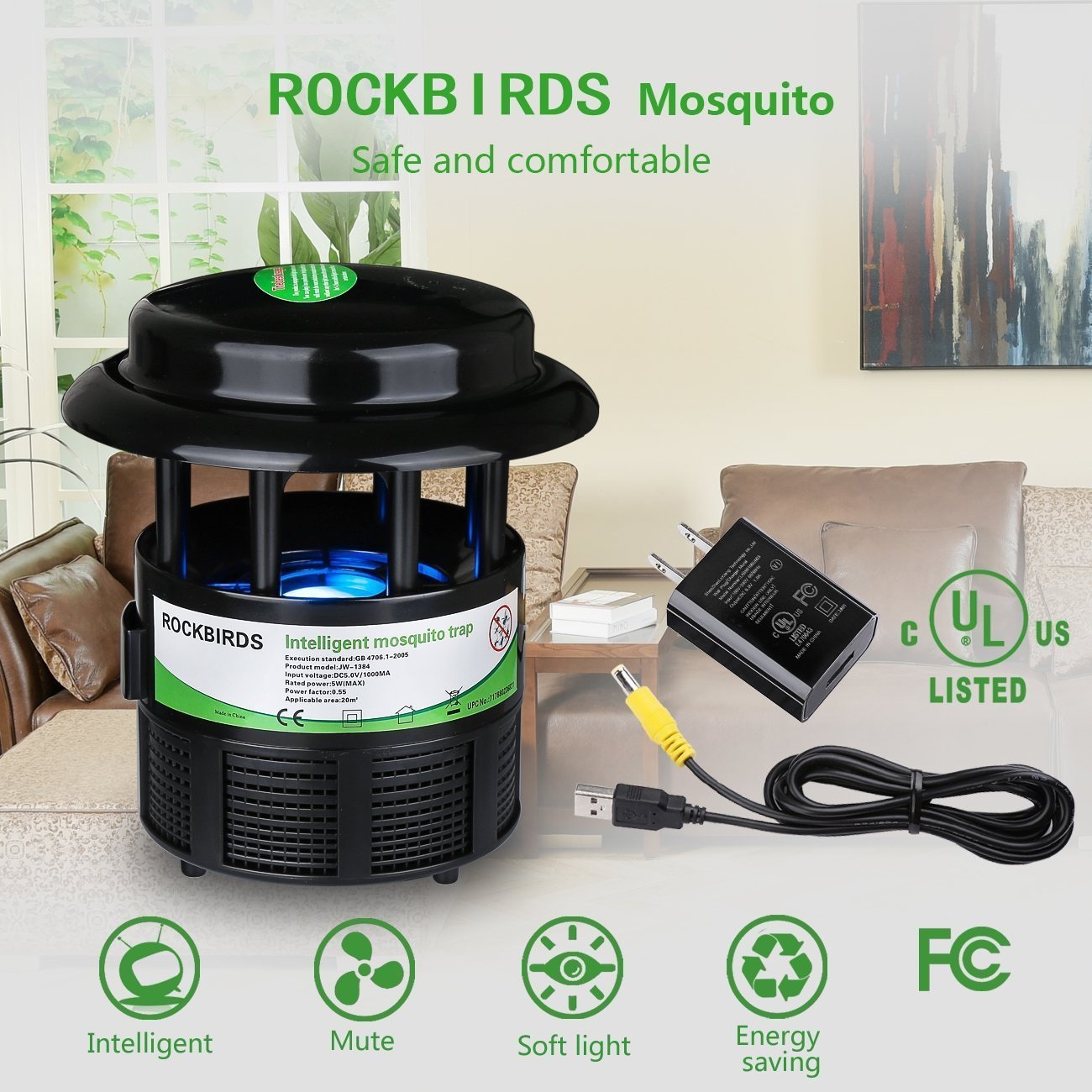RockBirds Mosquito Killer and Bug Zapper, Indoor Fly Trap, Control with Stand LED Light Mosquitoes, Wasps. – Perfect for Patio, Gardens, etc