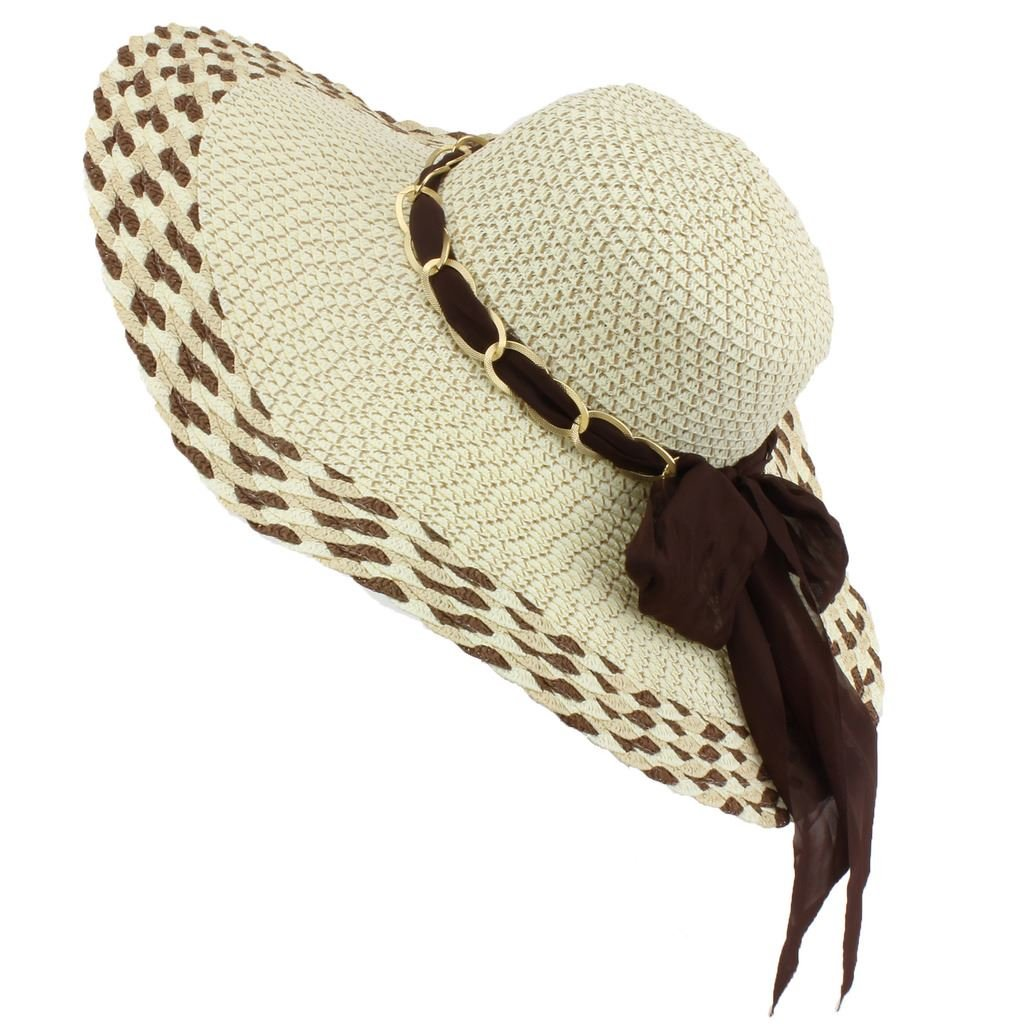 98376555 Macahel Straw Style Floppy Sun Hat Wide Brim with Chain Band and Chiffon  Scarf Bow - Brown: Amazon.co.uk: Clothing