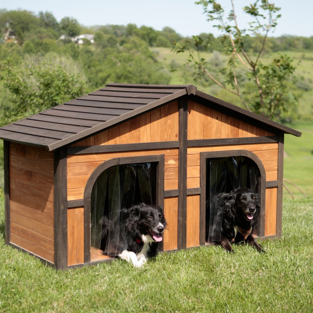 Merry Products Merry Products Darker Stain Duplex Dog House with FREE Dog Doors, Wood, Extra Large