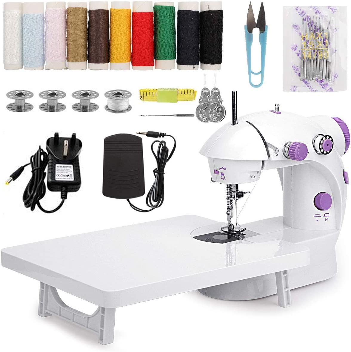 MinRi Mini máquina de coser con mesa de extensión de actualización, doble hilo ajustable y dos velocidades, kit de costura portátil para el hogar, viajes, niños, principiantes