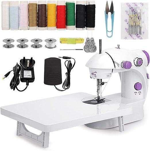 MinRi Mini máquina de coser con mesa de extensión de actualización, doble hilo ajustable y dos velocidades, kit de costura portátil para el hogar, viajes, niños, principiantes: Amazon.es: Hogar