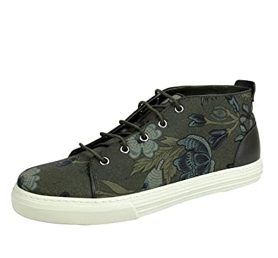 bf19db2b48a Gucci Men s Green Lace-up Floral Fabric Fashion Sneakers 342048 3364 (8 G