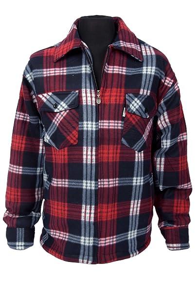 Mens Classic Checked Lumberjack Work Shirt Jacket Fleece Plaid