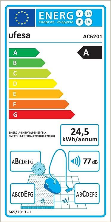 Ufesa AC6201 Aspirador Con Bolsa, 700 W, 2.5 litros, 77 Decibelios ...