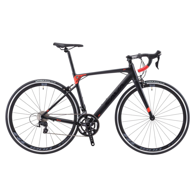 SAVADECK(サバデック) ロードバイク 700C シマノ製18段変速 SHIMANO SORA R3000 超軽量アルミ合金フレーム カーボンフォーク 自転車 B07K3YKNZH 52cm|ブラックレッド ブラックレッド 52cm