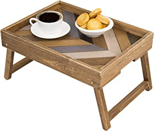 MyGift Vintage Multicolored Chevron Design Rectangular Wood Breakfast Serving Tray with Foldable Legs