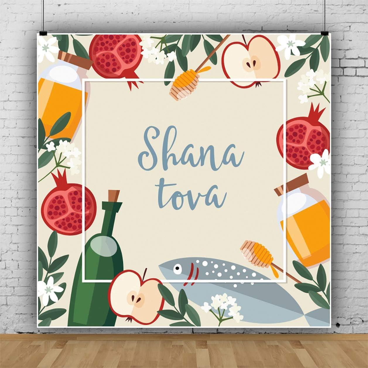 YEELE 10x10ft Shana Tova Backdrop Pomegranate Illustration Style Honey Apple Fruit Fish Photography Background Rosh Hashana Jewish New Year Holiday Kids Adults Artistic Portrait Photoshoot Props