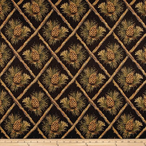 (Regal Fabrics Lattice Pine Cone Jacquard Fabric, Black)